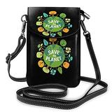 Save the Planet Crossbody Bags for Women,Crossbody Bag, Small Crossbody Bag PU Leather with Card Slots Lightweight