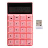 Wireless Numeric Keypad,USB Mini Keyboard Wireless Numeric Pad,2.4G USB Receiver,Digital Keyboard Calculator,with Display Screen,for Home Office Business(Pink)