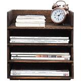 File cabinet File Storage Cabinet-Office File Cabinet, Desktop Storage and Organization File Rack, Office Necessities File Cabinet, Brown Wooden Storage Frame (Size: 1 Layer) Office Supplies