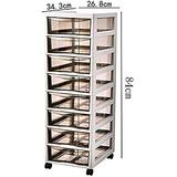 File cabinet Multifunctional Storage Cabinet, File Cabinet, Mobile Desktop File Storage Cabinet with Rollers, Plastic Drawer Type Large Space Pp Material Office Supplies (Color : 343×268×840mm)