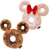 Disney Mickey Mouse Donut Plush Squeaky Toy + Minnie Mouse Donut Plush Squeaky Dog Toy