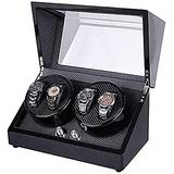 Crayton Watch display box, storage box, automatic watch winder, watch winder for 4 automatic watches, wooden shell piano finish, silent motor, suitable for women's and men's watch storage