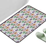 """Kitchen Mat Festive Ornamental Different Floral Motifs in Circular Designs Oriental Abstract Multicolor 47"""" x 35"""" Rectangle Rugs"""