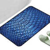 """Anti Slip House Kitchen Door Area Rug Animal Print Vivid Colored Realistic Snake Reptile Skin Pattern Alligator in Blue Artwork Print Blue 47"""" x 31"""" Rectangle Modern Area Rug with Non-Skid"""