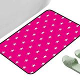 """Vintage Entrance Mat Hot Pink Symmetrical Pattern with White Stars Girlish Pattern Lovely Retro Party Tile Hot Pink White 23.5"""" x 15.5"""" Rectangle Non Slip Absorbent Carpet"""