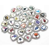 DIY058641 Handmade Charms 32Pcs/Lot Mixs Football Crystal Heart Charms Print Glass Dangle Charms DIY Bracelet Necklace Jewelry Hanging Floating Charms - Metal Type: 32Pcs