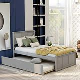 P PURLOVE Twin Platform Bed with Twin Size Trundle Bed, Wood Platform Bed Frame with Headboard, Storage Bed (Gray)