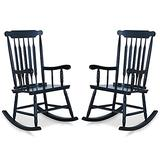 PHI VILLA Outdoor Wood Rocking Chair, Oversized Acacia Wood Slat Back Rocker Chairs for Patio, Deck, Balcony, Porch and Indoor, 30° Safe Recline Support 350 lbs - 2 PCS, Black