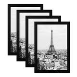 BLEUM CADE 8x12 Picture Frames 4 Pack, Made of Solid Wood Display Pictures 8x12 Photo Frames Black Picture Frame for Table Top Display or Wall Mounting, Hanging Hardware Included, Black