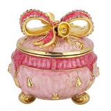 Agatige Enameled Trinket Box with Hinged Lid, Present-Shap Jewelry Box Ring Gift Box Collectible Ring Holder Small Treasure Case Ornament
