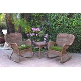 Windsor Honey Wicker Rocker Chair And End Table Set With Hunter Green Chair Cushion- Jeco Wholesale W00212_2-RCES034
