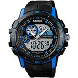 Large Dial Watches Men Military Analog Digital Sports Watch Waterproof 30M LED Alarm Clock Dual Time Stopwatch Date Calendar Tactical Watch (Blue)