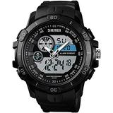 Large Dial Watches Men Military Analog Digital Sports Watch Waterproof 30M LED Alarm Clock Dual Time Stopwatch Date Calendar Tactical Watch (Black)