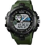 Large Dial Watches Men Military Analog Digital Sports Watch Waterproof 30M LED Alarm Clock Dual Time Stopwatch Date Calendar Tactical Watch (Army Green)