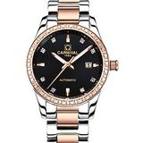 Swiss Brand Mens Automatic Watch Fashion Casual Two Tone Stainless Steel Business Watch with Calendar (Rose Gold Black)