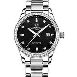 Swiss Brand Mens Automatic Watch Fashion Casual Two Tone Stainless Steel Business Watch with Calendar (Silver Black)