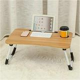 Side Table Mobile Table Workstation Foldable Laptop Table with Slotted Holes Computer Table Dormitory Bed Sofa Study Table Bed Table Bedside Table (Color : Wood Color)