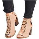 JFFFFWI Womens Cutout Sandals,Retro Chunky Staked High Heels Ankle Boots Caged Gladiator Strappy Dress Sandals Shoes