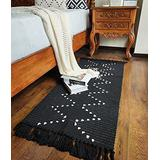 Boho Kitchen Runner Rug 2'x4.3' Small Bathroom Rugs with Tassels,Black Moroccan Farmhouse Cotton Woven Chic Cute Washable Throw Runner Rug for Hallway Sink Bedroom Living Room Indoor Outdoor Decor