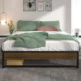 Allewie King Size Modern Platform Bed Frame with Vintage Headboard, 14 Inches Metal Mattress Foundation with Storage, No Box Spring Needed, Easy Assembly, Black