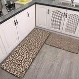 2 Pcs Kitchen Rug Set, Tawny Brown Leopard Print Leopard Spots Animal Print Non-Slip Kitchen Mats and Rugs Soft Flannel Non-Slip Area Runner Rugs Washable Durable Doormat Carpet
