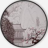 of A Chinese Landscape in The Style of Old Chinese Painting,Round Rug Carpet/Rug Non-Slip Backing Round Area Rug Bedroom Study Children Playroom Carpet Floor Mat 3'Round