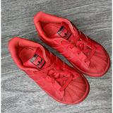 Adidas Shoes   Adidas Superstar Red Leather Shell Toe Sneakers   Color: Red   Size: 10b