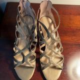 Nine West Shoes   Bronze Cutout Sandal With Zipper Back   Color: Gold   Size: 10