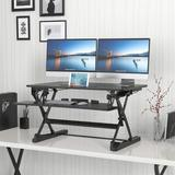 """SLEI Desktop Standing Desk Converter   Sit-To-Stand Work Desk Riser   Adjustable From 5.7"""" To 19.7""""   Fits Dual Monitor -Removable Keyboard Tray   Ergonomi"""