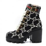 Gucci Shoes   Gucci Black & White Logo Tweed Gg Ankle Boots   Color: Black/White   Size: 7