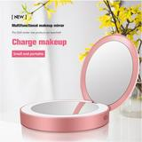 Wrought Studio™ Led Travel Makeup Mirror Power Bank w/ Light, Foldable Beauty Tool, Size 3.5 H x 11.0 W x 1.0 D in   Wayfair