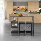 Latitude Run® Dining Table Set Industrial Style Bar Pub Table w/ 5 Backless Bar Stools For Home, Gray-Brown Finish Wood/Metal in Black/Brown Wayfair