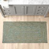 August Grove® Tabb Chevron Braided Indoor/Outdoor Area Rug Polypropylene in Green, Size 72.0 H x 72.0 W x 0.5 D in | Wayfair