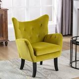 Rosdorf Park Velvet Wingback Accent Chair Armchair Modern Tufted Button Vanity Chair w/ Wooden Legs For Living Room Bedroom,Beige Wood/Velvet