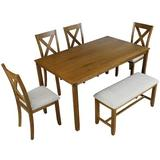 August Grove® 6-Piece Wooden Dining Table & Chair Set, 1 Table + 4 Chairs + 1 Bench, 6 Seats, Kitchen, Living Room in Brown   Wayfair