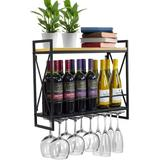 Rebrilliant Wine Bottle Stemware Glass Rack, Industrial 2-Tier Wood Shelf, Wall Mounted Wine Racks w/ 5 Stem Glass Holders For Wine Glasses, Flutes