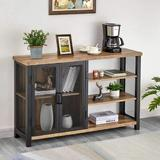 17 Stories Industrial Bar Cabinet For Liquor & Glasses, Rustic Wood & Metal Wine Rack Table, Accent Sideboard Buffet w/ Doors (47 Inch in Black/Brown
