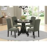 Winston Porter Montreuil 5 - Piece Solid Wood Rubberwood Dining Set Wood/Upholstered Chairs in Black, Size 30.0 H x 42.0 W x 42.0 D in   Wayfair