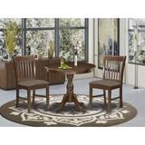 Alcott Hill® Rametta-MAH-C 3 Piece Dining Table Set - 1 Round Pedestal Table & 2 Mahogany Dining Chairs - Mahogany FinishWood/Upholstered Chairs