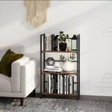 17 Stories Assembly Folding Bookshelf Storage Shelves 3 Tiers Vintage Multifunctional Plant Flower Stand Storage Rack Shelves Bookcase Wood in Brown