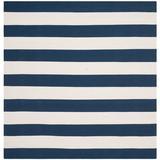 Beachcrest Home™ Brookvale Striped Handmade Flatweave Cotton Navy/Ivory Area Rug Cotton in Blue/Brown/Navy, Size 96.0 H x 96.0 W x 0.25 D in Wayfair