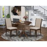 Alcott Hill® Tathana-AWA-05 3 Piece Dinette Sets - 1 Wood Dining Table & 2 Grey Parsons Chair - Acacia Walnut FinishWood/Upholstered Chairs in Brown
