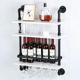 Williston Forge Industrial Pipe Shelf Wine Rack Wall Mounted w/ 5 Stem Glass Holder,3-Tiers Rustic Floating Bar Shelves Wine Shelf in Black   Wayfair