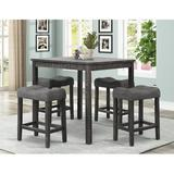 Gracie Oaks Erlich 5 - Piece Counter Height Dining Set Wood/Upholstered Chairs in Gray/Black, Size 36.0 H x 36.0 W x 36.0 D in   Wayfair