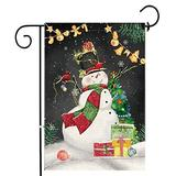 Hexagram Christmas Snowman Garden Flag Vertical Double Sided, Xmas Winter Decorations House Flags 12 x 18 Prime, Decorative Burlap Snow Yard Flags Outdoor Winter Flag for Porch Mailbox Lawn Home Decor