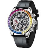 PAGANI DESIGN Men's Multi-Function Mechanical Watch Waterproof Watches Business Casual Stainless Steel Automatic Watch Wrist Watch for Men (1653 Black2)