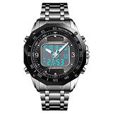 Luxury Dual Display Solar Power Mens Watches Waterproof Outdoor Multi Function Sports Watch Analog Quartz Digital Silver Stainless Steel Watch (Silver Black)