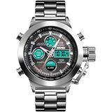 Men's Watches Stainless Steel Quartz Digital Sports Watch Large Dial Luminous Alarm Clock Date Stopwatch Business Dress Wrist Watch (Silver)