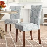 Three Posts™ Waverly Linen Dining Chair Wood/Upholstered/Fabric in Blue, Size 19.0 W x 23.5 D in | Wayfair THRE1856 25294688