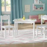 Three Posts™ Baby & Kids West Bridgewater Kids' 3 Piece Play Table & Chair SetWood in White, Size 21.0 H x 28.0 W x 24.0 D in   Wayfair